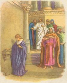 Maleri af enken der giver sin gave